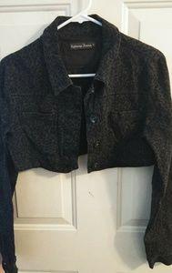 Grey leopard print crop denim jacket